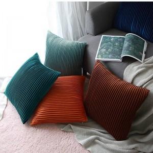 Terciopelo de lujo funda de cojín a rayas 3D plisado fundas de almohadas Almofadas Cojines sofá modelo de habitación esencial cubiertas del coche