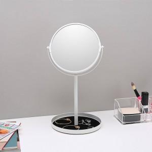 Espejo de maquillaje de sobremesa simple espejo doble cara ampliar 6.5 pulgadas espejo de tocador con base de almacenamiento de joyas wx8161502