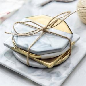Posavasos de cerámica de mármol Estilo nórdico Los posavasos con montura de oro previenen la decoración resbaladiza de la mesa de la estera de la taza