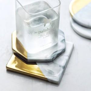 Grano de mármol Chapado en oro Posavasos de cerámica Alfombrillas para cojines Decoraciones para el hogar Herramientas de cocina Escritorio Almohadilla de lujo antideslizante Estilo europeo