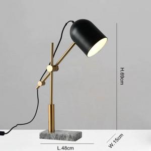 Lámparas de mesa de mármol modernas para sala de estar dormitorio sala de estudio iluminación decoración mesa luz lámpara de lectura de pantalla de metal negro
