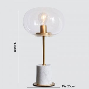 Lámparas de mesa de mármol Lámpara de metal de oro moderna cuerpo del escritorio luz de la sala dormitorio Arte de hierro pantalla de vidrio transparente pantalla de luz de lectura