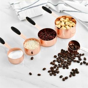 Cuchara de medir Cuchara de acero inoxidable Cuchara de café en grano Cuchara de harina de harina con mango Cuchara de hornear durable Juego de herramientas de cocina 5PCS