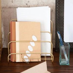 Metal Oro Estante de almacenamiento Vogue Moderno Mini nórdico elegante Red de hierro Escritorio Revista Periódico Libro Organizador Almacenamiento Cesta Decoración