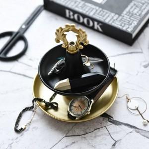 Soporte de exhibición de joyería doble soporte de metal Anillo de mesa de preparación Joyas Bandeja de almacenamiento Decoración de escritorio Adornos