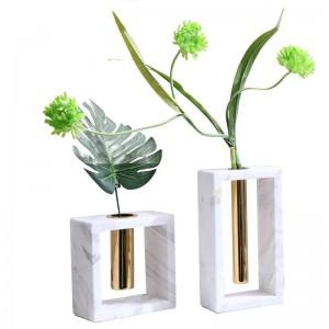 Florero de mármol de metal Nueva decoración del hogar Decoración Creativa Accesorios para el hogar suaves