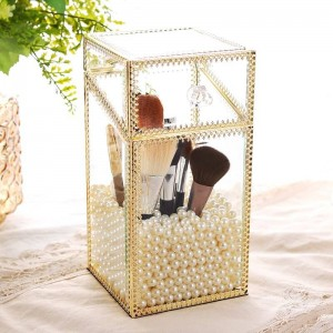 Vidrio de metal Transparente Caja de almacenamiento Cubierta de polvo Cubierta Tocador Joyería Cosméticos Cepillo Barril Joyero Regalo