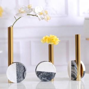Modelo de decoración de la habitación de lujo de escritorio creativo de metal flor de mármol moderno minimalista casa modelo decoración de la habitación