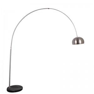 Lámpara de pie moderna para pesca Lámpara de pie de acero inoxidable, pantalla en cromo, sala de estar, sala de lectura, oficina, lámpara de pie, bombilla E27