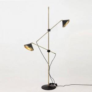 Lámpara de pie moderna 2 brazos Ajustable negro blanco piso ajustable Luz dormitorio Atractiva sala de estar Luz de moda