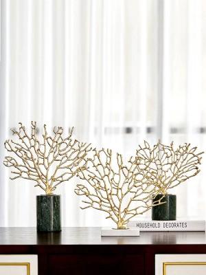 Accesorios para el hogar modernos Cobre Dorado Adornos de coral Modelo de sala Sala de estar Artesanías de mármol Decoraciones