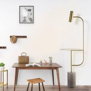 Moderna lámpara de pie de mármol con mesa ajustable ángulo color oro negro Interruptor de pie E27 led foco blanco natural 4000K cálido