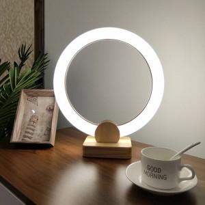 Moderno Nordic Simple Dormitorio Lámparas de escritorio de madera Creativa de arte Acrílico anillo Decoración luces de mesa Lámparas de lectura LED