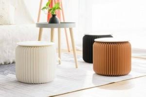 Taburete de papel plegable, compacto, robusto y portátil, con estructura de nido de abeja, silla de taburete bajo para sala de montaje, salas de exposiciones