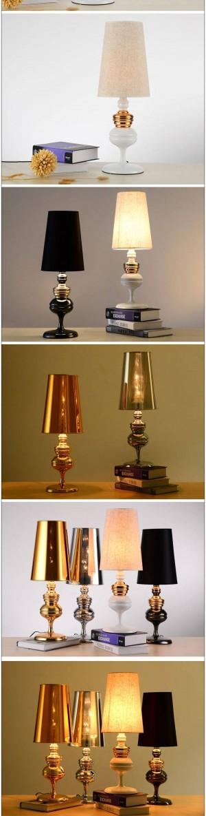 Moderna lámpara de mesa Balck blanco oro cromo color metal Iluminación artística Luces de noche Pantalla Pantalla Lámpara de luz nórdica