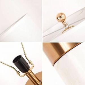 Lámpara de mesa moderna cobre base de mármol blanco plata arte Decoración del hogar Iluminación de lujo mesa nórdica luz E27 bombilla 6W