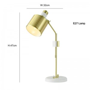 Lámpara de mesa moderna Nordic simple design escritorio de color oro blanco luz LED 3W E27 AC220V entrada sala de estudio dormitorio escritorio luz de oficina