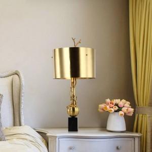 Lámparas de mesa modernas de mármol de cobre Estudio de lectura Luz de dormitorio Lámparas de cabecera Pantalla de iluminación para el hogar lámpara de lámpara nórdica E27 bombilla
