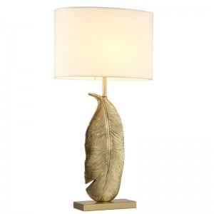 Lámparas de mesa modernas hojas de dold decoración de arte Estudio de lectura Luz Dormitorio Lámparas de cabecera Pantalla Iluminación para el hogar Lámpara nórdica led