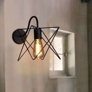 Lámparas de pared modernas de hierro vintage Loft pantalla de jaula triangular de metal negro lámpara de pared de estilo rústico Lámpara de pasillo pasillo lámpara
