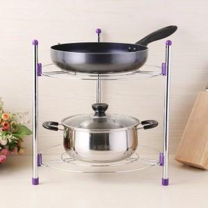 Rack de almacenamiento de cocina multifuncional Bandeja organizadora de olla de acero inoxidable Rack de múltiples capas Ajustable en altura