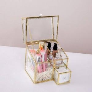 Caja de almacenamiento de cosméticos multifuncional Caja de vidrio con polvo de volteo Lápiz labial Caja de acabado de perfume Almacenamiento de cosméticos de escritorio