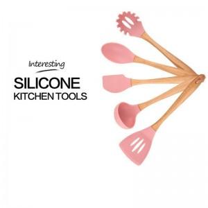 Vajilla multifuncional Cocina Marco de madera Utensilios de cocina de silicona Utensilios de cocina Set de 6 piezas Hermosa moda