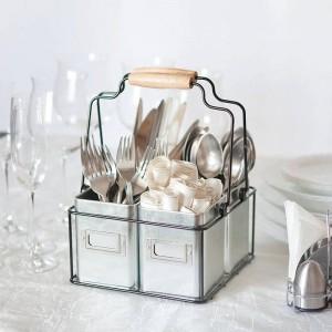 Múltiples usos mango de madera cesta de alambre hecho a mano carrito con 4 cajas galvanizadas Zin estantes de cocina vajilla de escritorio cesta de almacenamiento