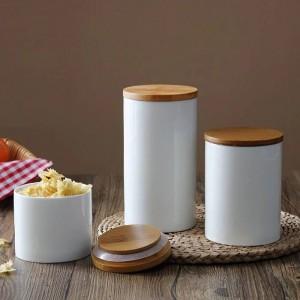 Tarro natural de la botella del almacenamiento del pote del lacre del diseño natural con la cubierta de bambú para los granos de café del té de la comida de la cocina y las especias