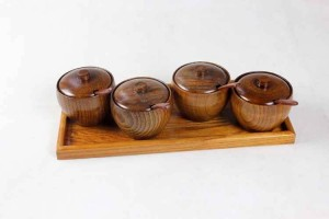 Tarro de especias de madera natural Jarra de sal Juego de cocina Caja de condimento creativo Con cuchara