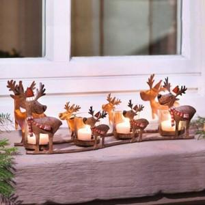 Candelabro Neoclásico Hierro Art Elk Candlelight Cup Light Light Decoración de Navidad Adorno Artesanía Candelabro Estatua