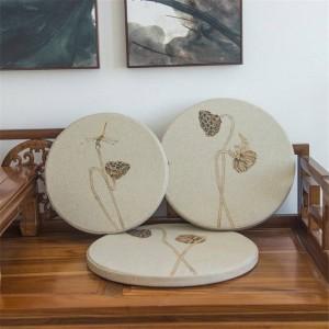 Nueva esponja de tela de lino Cojín creativo Hoja de loto Cojín redondo Bahía ventana Cojín de madera maciza Sofá Cojines decorativos