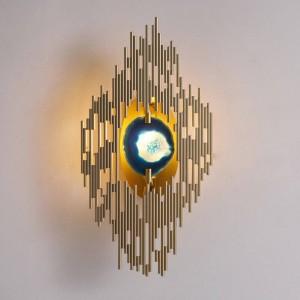 Nueva lámpara de pared de ágata clásica Chapado en oro, metal, montado en la pared, luz, vestíbulo, iluminación del pasillo G9 led aplique de pared