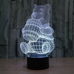 Nueva lámpara de ilusión 3D creativa, acrílico 7 colores cambiantes Winnie the Pooh forma LED luces nocturnas usb novedad iluminación lámparas de mesa