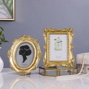 Nueva luz francesa de lujo dorado tallado marco de fotos vintage marco de fotos marco de fotos adorno suave decoración belleza