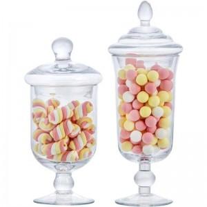 Nuevo frasco de dulces de vidrio creativo con tapa tanque de almacenamiento botella de almacenamiento postre de boda helado taza decoración de la ventana Latas