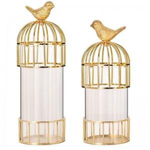 Nuevo Modelo de adornos de jaula de pájaros dorados Decoración de florero de metal Modelo de país americano Decoración de la casa