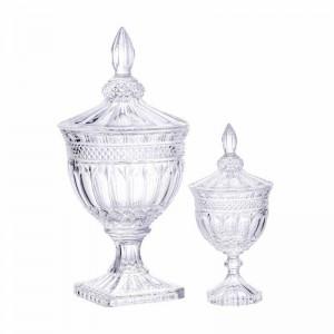 Nueva gama alta latas de caramelo hotel boda postre pabellón mesa mesa decoración de la ventana cubierta de pie alto tarro de cristal adornos