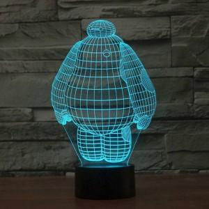 Nueva gente blanca grande lámpara de luz 3d LED acrílico colorido deco de vacaciones estereoscópico lámpara de mesa de luz nocturna con interruptor táctil