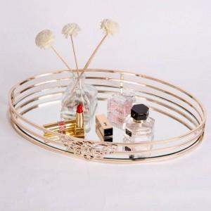 Nueva bandeja de espejo de metal oval modelo europeo sala de café mesa de baño bandeja de almacenamiento de cosméticos decoración
