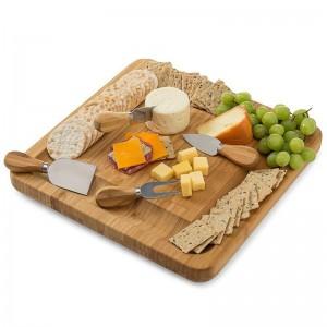 Nuevo juego de cuchillos de bambú natural para tabla de quesos con cajones deslizantes Bandeja de madera 4 cuchillos de corte pequeños con mango de madera