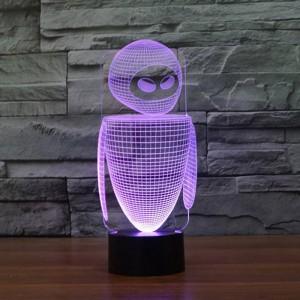 Nuevo robot colorido 3D llevó una luz nocturna 7 colores cambia la lámpara de ilusión 3D niños / bebé dormitorio mesa de noche lámpara para dormir