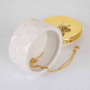 Caja de joyería de cerámica nórdica tanque de almacenamiento dorado princesa simple adornos decorativos Anillo de bodas Caja de baratija Pendiente Caja de almacenamiento