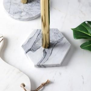 Nordic estilo de mármol Natural chapado en oro papel de cocina toalla titular Escritorio de estante de almacenamiento