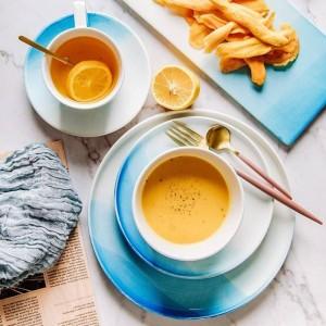 Gradiente nórdico Color azul Plato de cerámica Tazón Taza Juego de plato de frutas Plato de postre Bandeja creativa Juego de vajilla plana para platos de comida