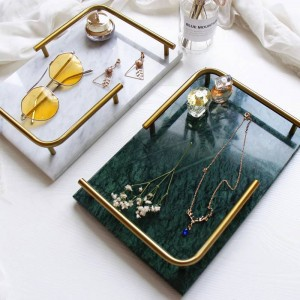 Nordic Light Bandeja rectangular de mármol natural de lujo Joyería Perfume Bandeja de inducción de belleza Bandeja de baño
