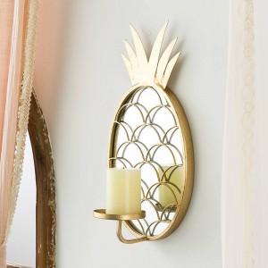 Nordic Lujo Decorativo Espejo de cristal Decoración Decoración del hogar Piña Colgante de pared Candelabro