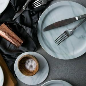 Platos con textura de mármol nórdico platos de cena de 23 cm / 18 cm bandeja ensaladera platos bandejas platos de cerámica
