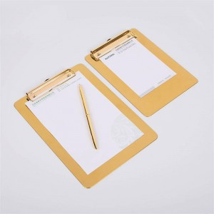 Nordic Metal Gold Office Bandeja de almacenamiento de mesa con clip Escandinavo Vogue Office File Note Escritorio Pad de almacenamiento Organizador Decoración