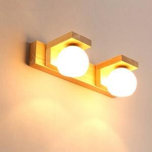 Nordic espejo faro simple moderno impermeable de cristal Hanglamp madera LED lámpara de pared baño luz baño colgando lámparas